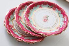 12 FLORAL TEA PARTY Mini Paper Plates Parisian Vintage Style Shabby Chic Garden Tea Time Mint Green Pink Seafoam Rose Roses French Paris