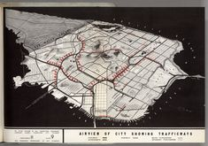 San Francisco: Airview of City Showing Trafficways From the 1948 Transportation Plan for San Francisco San Francisco Map, San Francisco Airport, Urban Analysis, Site Analysis, Flow Map, Map Pictures, National Park Posters, National Parks, Old Maps