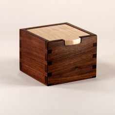Small Walnut and Maple Wooden Box - I imagine it as a larger box holding kitchen items with a cutting board top
