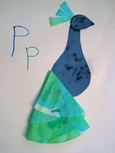 Little Page Turners: P is for Peacock coffee filter craft for kids!