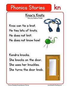 Using this Knox's Knots KN Phonics Reading Comprehension Worksheet, students build their reading comprehension and phonics skills while reading words featuring KN. First Grade Reading Comprehension, Phonics Reading, Reading Comprehension Worksheets, Teaching Phonics, Phonics Activities, Teaching Reading, Kindergarten Reading, Reading Words, Reading Passages