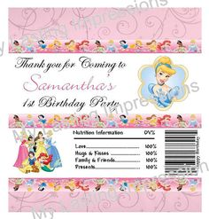 Disney Princess Personlized Candy Bar by SoSweetCandyBuffets