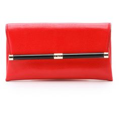 Diane von Furstenberg 440 Envelope Clutch (€130) ❤ liked on Polyvore featuring bags, handbags, clutches, purses, paprika, red hand bags, purse clutches, red leather handbags, leather hand bags and handbags clutches