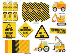 construction Party Printables Package PFD File by SqweezDesign