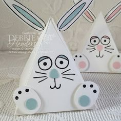 Stampin' Up! Pyramid Pals and Playful Pals for Easter Bunny treat holders. Debbie Henderson, Debbie's Designs. #pyramidpals #playfulpals #eastertreats