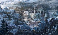 Personal Work, PJ Raines on ArtStation at… Fantasy Village, Fantasy Town, Fantasy Map, Medieval Fantasy, Fantasy World, Landscape Concept, City Landscape, Fantasy Art Landscapes, Fantasy Landscape