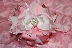 Easter Hair Bow Over the Top Hair Bow Newborn by BellaKumariBows, $12.00
