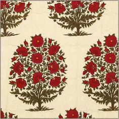 Pavot on Cream by Brigitte Singh from Aleta #fabric #red #floral