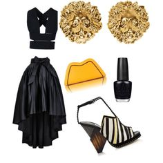 Black & Yellow by msjaylarae-1 on Polyvore featuring polyvore, fashion, style, STELLA McCARTNEY, Jimmy Choo, Feather.M, Versus and OPI