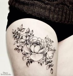 Large Blackwork Floral Piece by Diana Severinenko