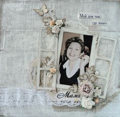 A window cleverly used on scrapbook page.