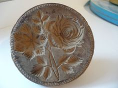 ANTIQUE PRIMITIVE WOOD INTRICATE CARVED BUTTER PRESS STAMP MAPLE CANDY MOLD  #NaivePrimitive