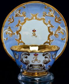 Tsar Alexander III Russian Imperial Porcelain Cup and Saucer