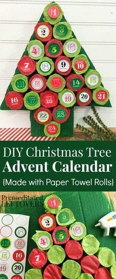Christmas Tree Advent Calendar Tutorial - Make this homemade advent calendar with upcycled paper towel rolls, card board, tissue paper, and calendar stickers. An easy and frugal way to count down Christmas with your kids!