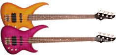 A pair of Andromeda bass guitars in gorgeous colourful flame finishes.