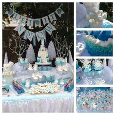Frozen Winter Wonderland | CatchMyParty.com Love the cake, cupcakes, snowflake cookies and the mini Elsa and Anna.