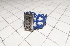 Police Box Ring on blue filigree inspired by Doctor Who and the TARDIS... geek fashiOn NEED