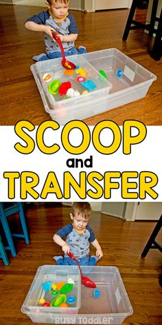 Water Scoop and Transfer - A Toddler Activity - Busy Toddler : Water Scoop and Transfer – A Toddler Activity: Introducing life skills to toddlers is so much fun! Try this water scoop and transfer activity for a quick and easy way to entertain a toddler. Toddler Learning Activities, Games For Toddlers, Montessori Toddler, Toddler Play, Motor Activities, Infant Activities, Preschool Activities, Sensory Play For Toddlers, 2 Year Old Activities