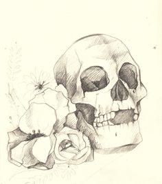 Lately in the sketchbook (Skulls and flowers study) by Elena-Greta Apostol, via Behance