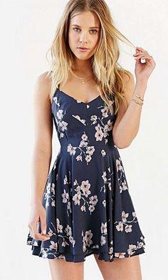 aa0ebb6ab8 printed skater dress Navy Floral Dress