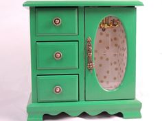 Kelly Green and Gold Dot Starburst Refurbished Vintage Small Standing Jewelry Armoire
