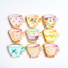 Teacup cookies Pie Cake, Teacup Cookies, Tea Cups, Cupcakes, Tableware, Cake, Cupcake Cakes, Dinnerware, Teapot Cookies
