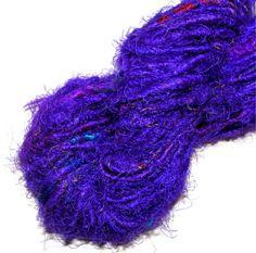 Recycled Sari Silk Yarn Purple by amberthreads on Etsy, $10.00