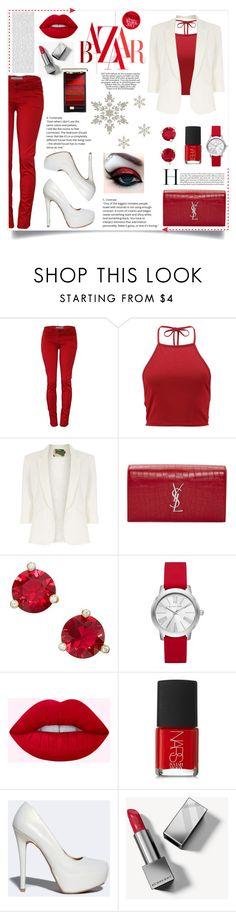 """""""Monochromatic"""" by natsucool ❤ liked on Polyvore featuring Boohoo, Jolie Moi, Yves Saint Laurent, Oris, Kate Spade, Michael Kors, NARS Cosmetics, Qupid and Burberry"""