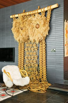 Giant owl macrame in Jonathan Adler + Simon Doonan's Shelter Island Vacation Home
