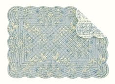 Windsor Blue Quilted Placemat in Round and Rectangle by C enterprises