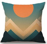 Hill and sun Geometric patterns Cotton Linen Throw Pillow Case Cushion Cover Home Sofa Decorative 18x 18 Inch