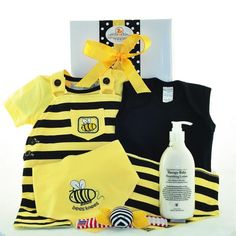 The Bees Knees Neutral Baby Hamper Baby Gift Hampers, Baby Hamper, Keepsake Baby Gifts, Black Envelopes, Baby Overalls, Yellow Tees, Baby Lotion, Bee Design, Bees Knees