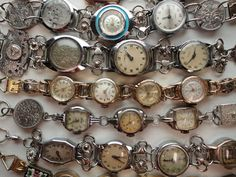 Vintage Jewelry Steampunk Industrial Chic Recycled Watches Bracelets Handmade by Recycloanalyst - Steampunk Industrial Chic Bracelets made from rescued vintage watches by Ann Jenkins, the Recycloanalyst, in Oxford UK Vintage Jewelry Crafts, Recycled Jewelry, Old Jewelry, Jewelry Art, Antique Jewelry, Beaded Jewelry, Jewelry Design, Jewelry Making, Jewlery