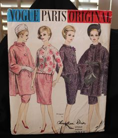 1960's Vintage Vogue PARIS ORIGINAL Suit & Coat Christian Dior w/Label Pattern 1041 size 14 UNCUT