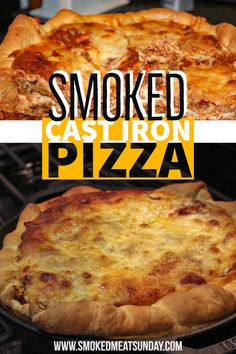 Smoked Deep Dish Pizza Recipe - Cooked in a Cast Iron Skillet - Cast Iron Pizza - A deep dish pizza made in a cast iron skillet, lasagna style on my traeger pellet smoker - follow smokedmeatsunday for more great recipes Smoked Pizza, Barbecue Smoker, Bbq, Smoking Recipes, Cooking Rice, Cooking Basmati Rice, Cooking With Kids, Fire Cooking, Outdoor Cooking