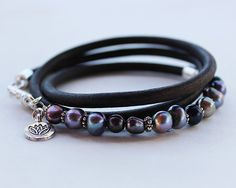 Pearl Leather Bracelet  artisan style leather and freshwater