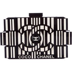 Pre-owned Chanel Coco Lego Clutch ($5,650) ❤ liked on Polyvore featuring bags, handbags, clutches, chanel, black and white, black, leather handbag purse, zip purse, kiss-lock handbags and leather hand bags