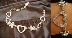 CADEAU D'AMOUR Bracelet Bijou Fantaisie Femme Argenté Cœur Diamants Strass