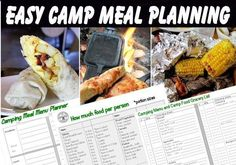 camp meal and menu planning, lots of other camping tips too. camp meal and menu planning, lots of other camping tips too. Week End Camping, Camping Menu, Family Camping, Tent Camping, Camping Hacks, Outdoor Camping, Camping Ideas, Camping Recipes, Camping Checklist