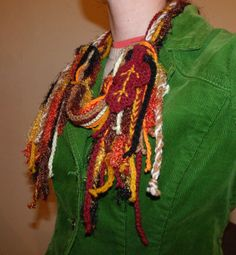 Fall leaf cowl scarf - great way to use up small amounts of yarn