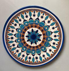 Lindo prato mandala  100% artesanal, feito em cerâmica e pintado a mão
