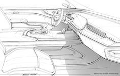 Car Interior Sketch, Interior Design Sketches, Interior Design Boards, Industrial Design Sketch, Car Design Sketch, Blog Design Inspiration, Interior Inspiration, Dashboard Design, Hand Sketch