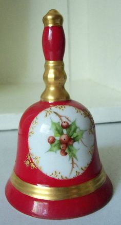 Vintage Christmas Bell Red Gold Porcelain Holly 4 by IcicleGarden, $9.99