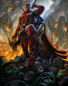What the heck...  It's all the Marvel and DC heroes dead. Is that Hawk guys head he's holding?