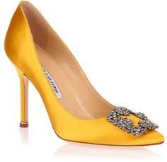 Manolo Blahnik Hangisi satin pump yellow