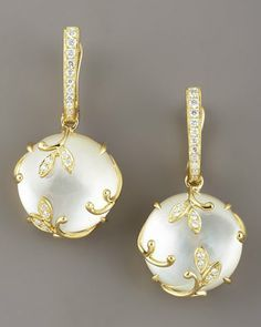 stunning Frederic Sage Jelly Vine Mother-of-Pearl Earrings 18-karat yellow gold settings Pave white diamond stations Round mother-of-pearl drops encased in leafy pave white topaz vine settings.