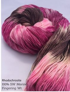 This color draws inspiration from rhodochrosite rich stalactites from Argentina. I used several different pinks and browns to create a fun variegated colorway. Sock and Worsted weight #sockyarn #handdyed #worsted #pink #garnetfiberstudio #indiedyed