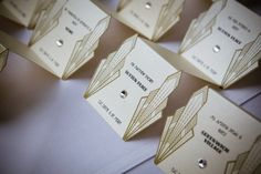Gatsby Art Deco Escort Cards / Place Card by MilanoInk on Etsy