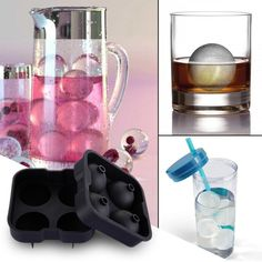 """2x ICE Maker Large Cube Square Tray Molds Whiskey Ball Cocktail Big 2/""""x2/"""" ORANGE"""