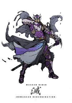 """zakkizaki on Twitter: """"「仮面ライダー滅」 ヒューマギア態の意匠を残すっていうテーマのイラストです。… """" Fantasy Concept Art, Game Concept Art, Armor Concept, Character Concept, Character Art, Dark Warrior, Kamen Rider Series, Samurai, Gundam Art"""